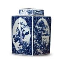 GUCI керамики династий Мин и Цин чайники вход фарфор антикварная синий белый винный шкаф bo ГУ рама украшения ремесла
