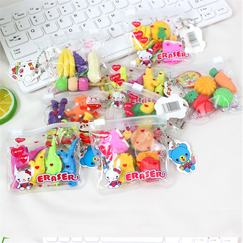 1pack/lot Cute Simulation Food Vegetable Eraser Set Office Study Rubber Eraser Special Stationery Gifts Toy