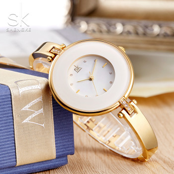 ShengKe Luxury Gold Women Watches Minimalism Fashion Stainless Steel Lady's Golden Bracelet Watch Wristwatch Female Gift Clock 1