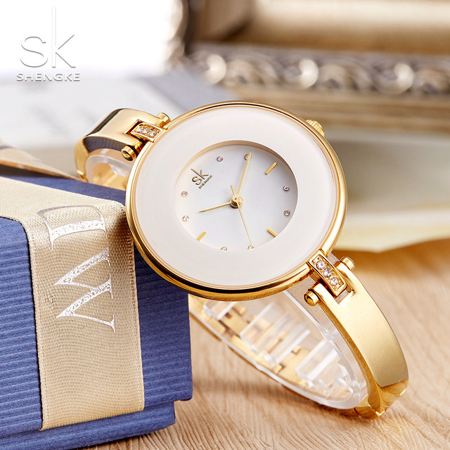 ShengKe Luxury Gold Women Watches Minimalism Fashion Stainless Steel Lady's Golden Bracelet Watch Wristwatch Female Gift Clock 1