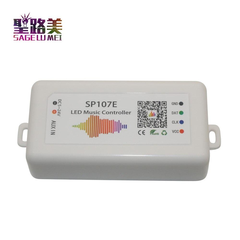 SP107E DC5V-24V Bluetooth Music LED Controller full color RGB SPI Control by phone APP for 2812 2811 1903  LED Strip Light Tape