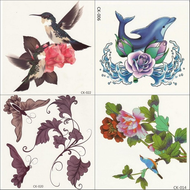 2 pcs/lote rose oiseau dauphin 3d tatouages papillon bleu rouge