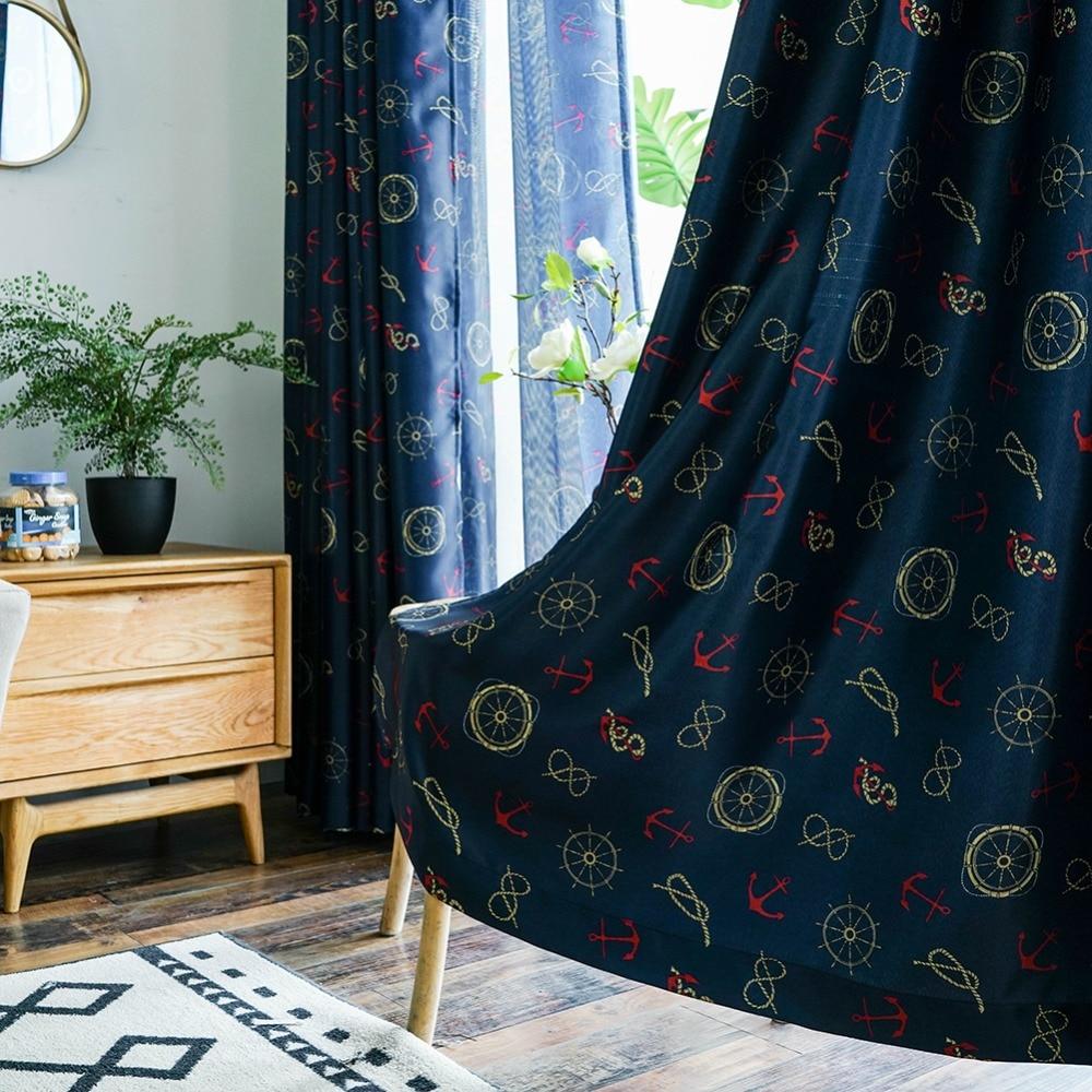 Topfinel Helm and Anchor Navigation Cartoon Children Blackout Curtains for Living Kids Room Bedroom Decorative Boys Gift Navy