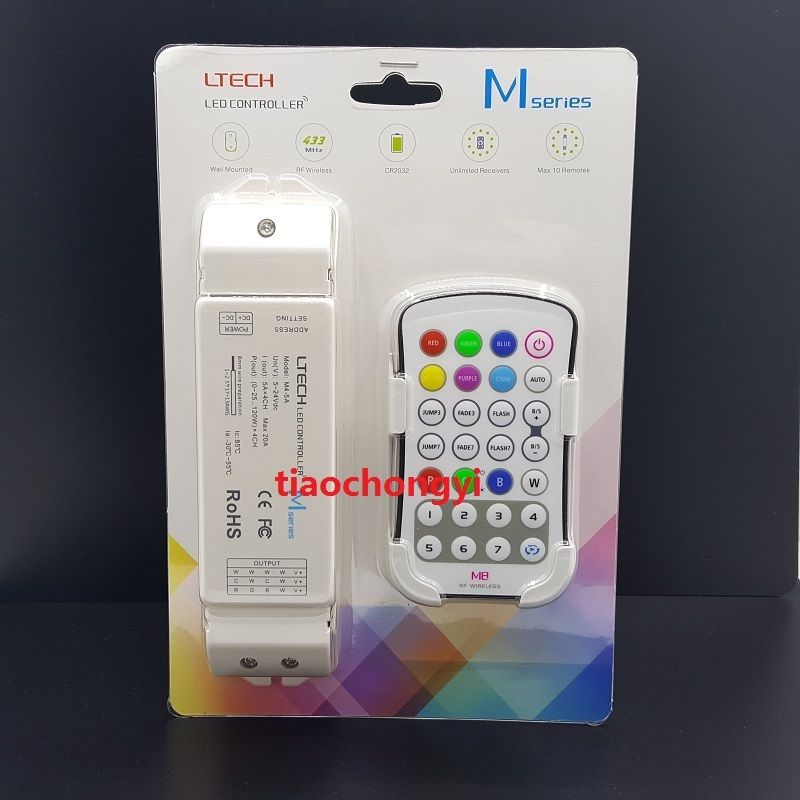 M8 RGBW RGB+White RF Wireless Remote Control LED Controller M8-M4-5A 4 Zone 20A m3 m4 5a m3 touch rf remote with m4 5a cv receiver led dimmer controller dc5v dc24v input 5a 4ch max 20a output
