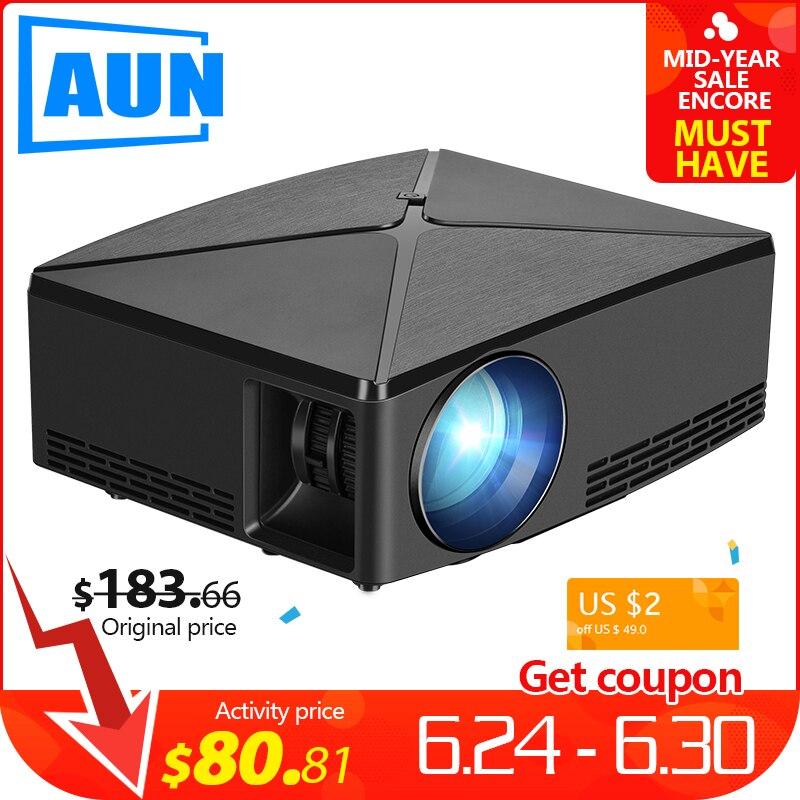 AUN MINI Proyector C80 a resolución de 1280x720 Android WIFI Proyector... LED portátil HD 3D Beamer para cine en casa, opcional C80