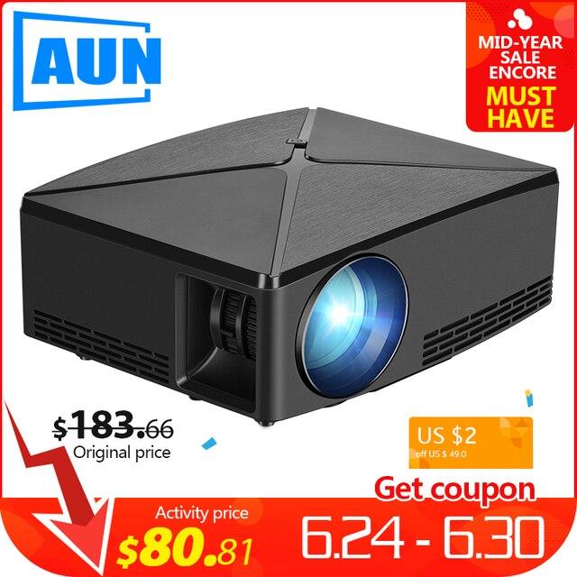 AUN mini projektor C80, 1280x720 rozdzielczość, Android WIFI projektor, LED przenośne HD 3D projektor do kina domowego, opcjonalnie C80