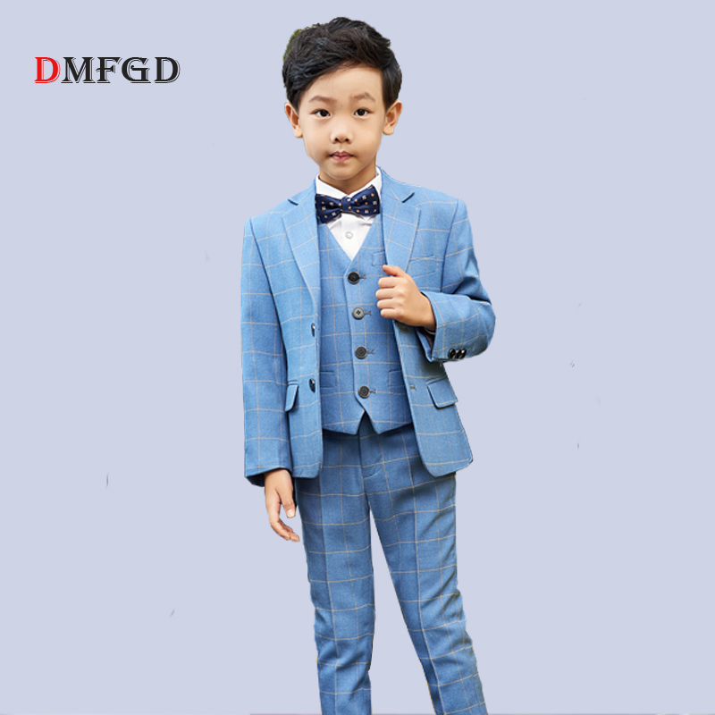 New 5pcs kids suit plaid blazers boys suits sets children dress england style student formal clothing child piano party clothes 2017 new boys clothing set camouflage 3 9t boy sports suits kids clothes suit cotton boys tracksuit teenage costume long sleeve
