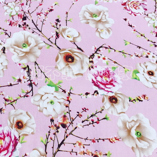 Pink Fresh Flower Dress Micro Cotton Fabric Printing All Cotton Satin Fabric DIY Clothing Material S98
