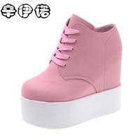 Marca de moda Primavera Mulheres alta cunha sapatos casuais Fêmea 11 CM Aumento Da Altura Shoes Mulher Sapatos de Plataforma de Lona Sapatos Único