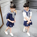 High Quality Fashion Girls Clothing Set Sailor Pattern Hoody+ TuTu Skirt 2pcs Spring Summer Baby Girls Clothes 2016 new