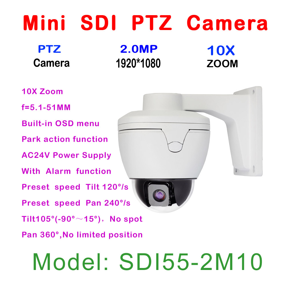 10x Auto Zoom 2MP Mini High Speed Dome PTZ Camera HD-SDI 1080P,  5.1 - 51 mm Auto Focus Zoom Lens, 1/2.8 Type CMOS, With Alarm fg 1080p 2 0 megapixel hd sdi mini high speed dome camera ip66 weather protection rs 485 remote control support pal ntsc