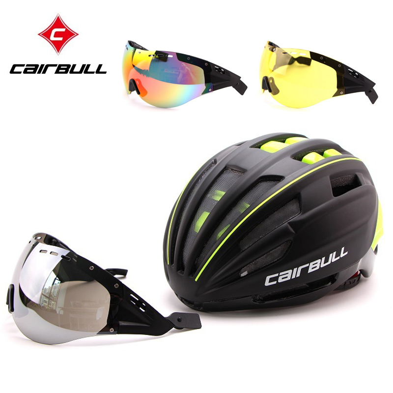 CAIRBULL Bicycle Helme +3 lens TT Goggle Aero Track Integrally-molded Cycling Helmet Sport MTB Bike Helmet For Men WomenCAIRBULL Bicycle Helme +3 lens TT Goggle Aero Track Integrally-molded Cycling Helmet Sport MTB Bike Helmet For Men Women