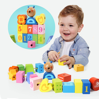 Wooden Blocks Toys Set Building Blocks For Toddlers 20 Pcs Blocks Threading Wood Toys DIY Geometric