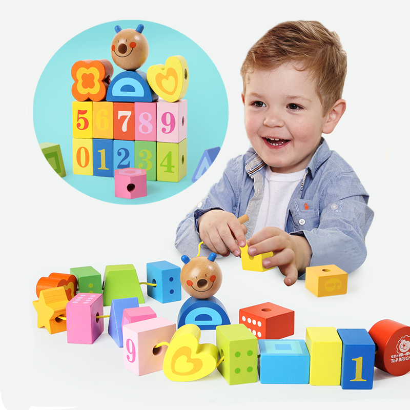 Wooden blocks toys set Building blocks for toddlers 20 pcs blocks threading wood toys DIY Geometric Assembling Blocks wooden toys цифры d26