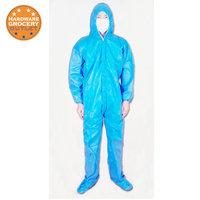 Full Cover Blue Powder Coating Painter S Hood Disposable Elastic Wris Bootie Hood Blue Tyvek Coverall