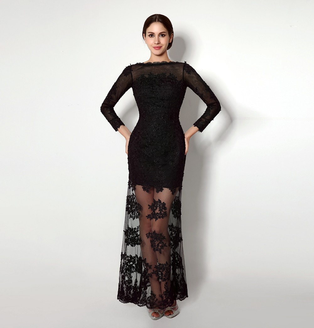 Aliexpress.com : Buy Sexy Low Back Party Dresses Black See Through ...