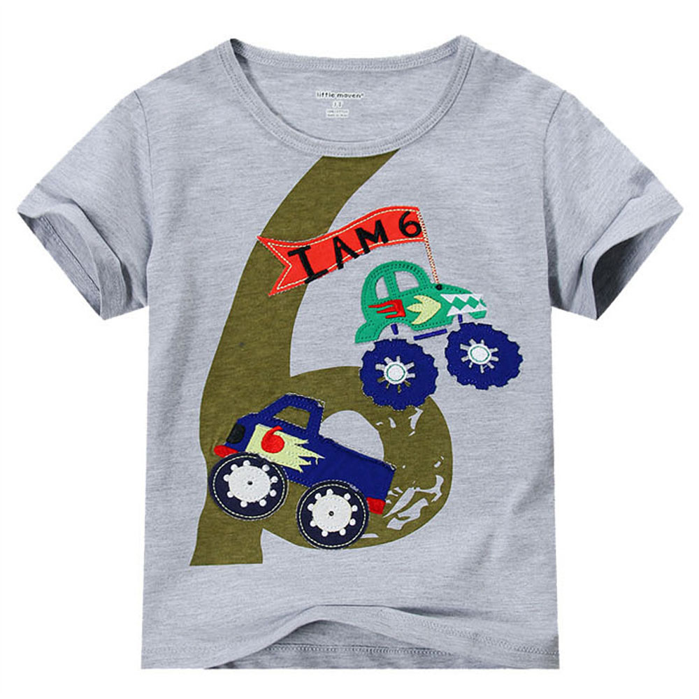 Baby Boy T Shirt Short Sleeve Kid Summer Cartoon No 6 Cotton Little Children Tees Shirts