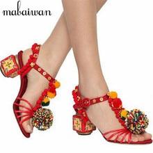 Ethnic Summer Crystal Fringe Pom Pom Gladiator Sandals Designer Handmade High Heels Vintage Print Women Pumps Ladies Shoes Woman