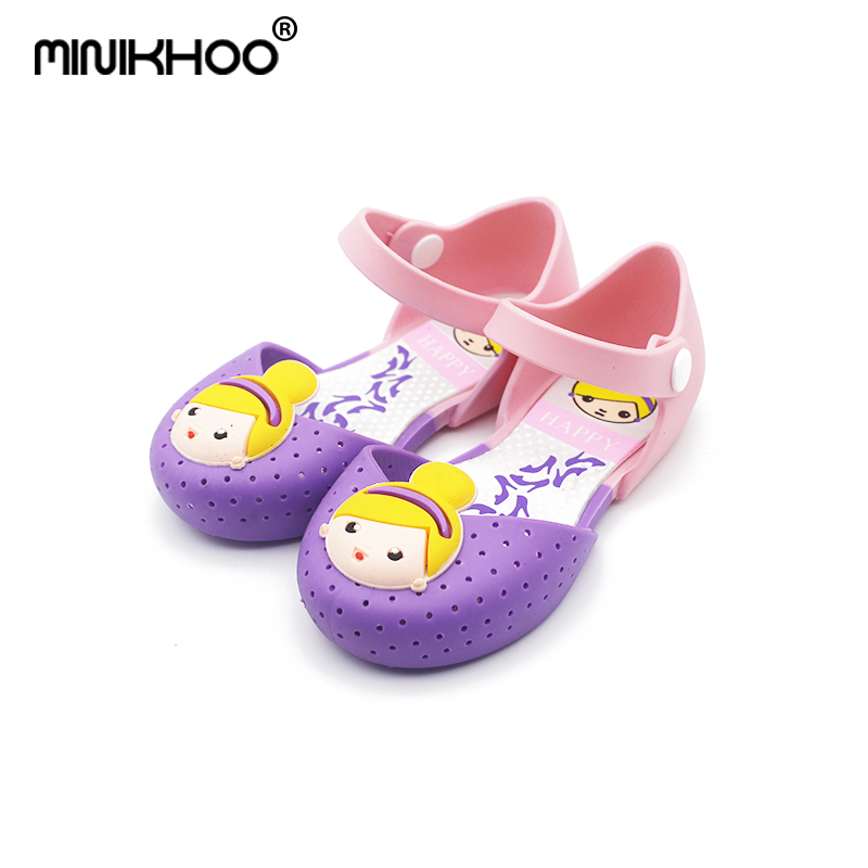 Mini Melissa 2018 Gilrs Sandals Jelly Princess Summer Children Shoes Jelly Crystal Shoes Cartoon Gilrs Melissa Crystal Shoes