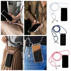 Mobile Phone Case With Rope Tpu Transparent Four-corner Anti-fall Mobile Phone Shell For iPhone 78P XXS For Huawei For Sumsung
