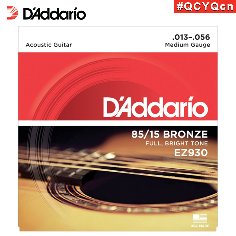 DAddario EZ930 Great American Made 85/15 Bronze Acoustic Guitar Strings, Medium, 13-56