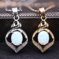 Luxury Necklace Pendant White Fire Opal &AAA Zircon Gold Plated Pendant