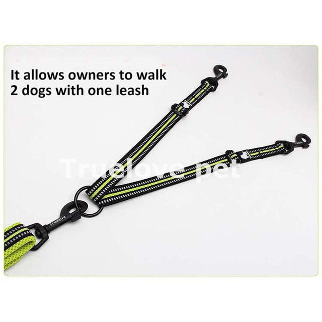 Truelove Reflective Adjustable Double Dog Leash For Two Dogs Tangle Free Double Dog Coupler For Walking And Training Two Dogs