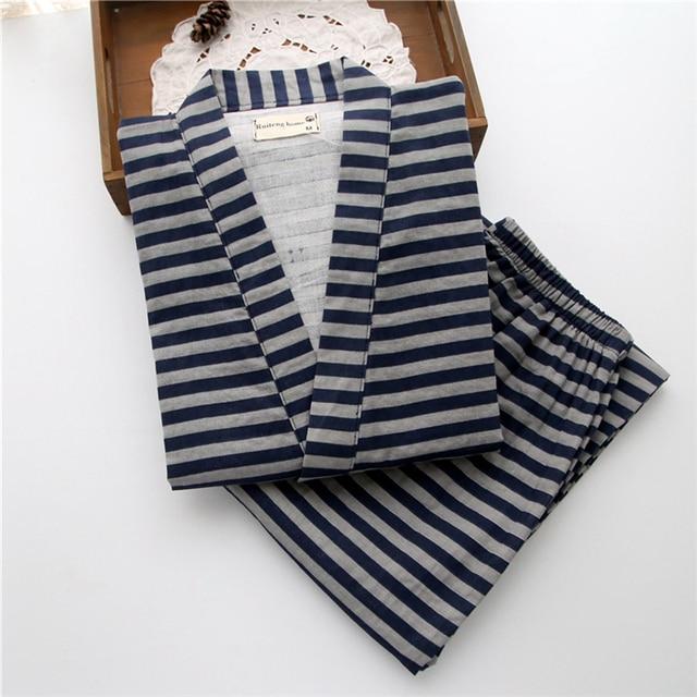 246bb10d42 Striped Cotton Gauze Japanese Kimono Robe   Pants Pajama Set for Women and  Men Couple Sleepwear
