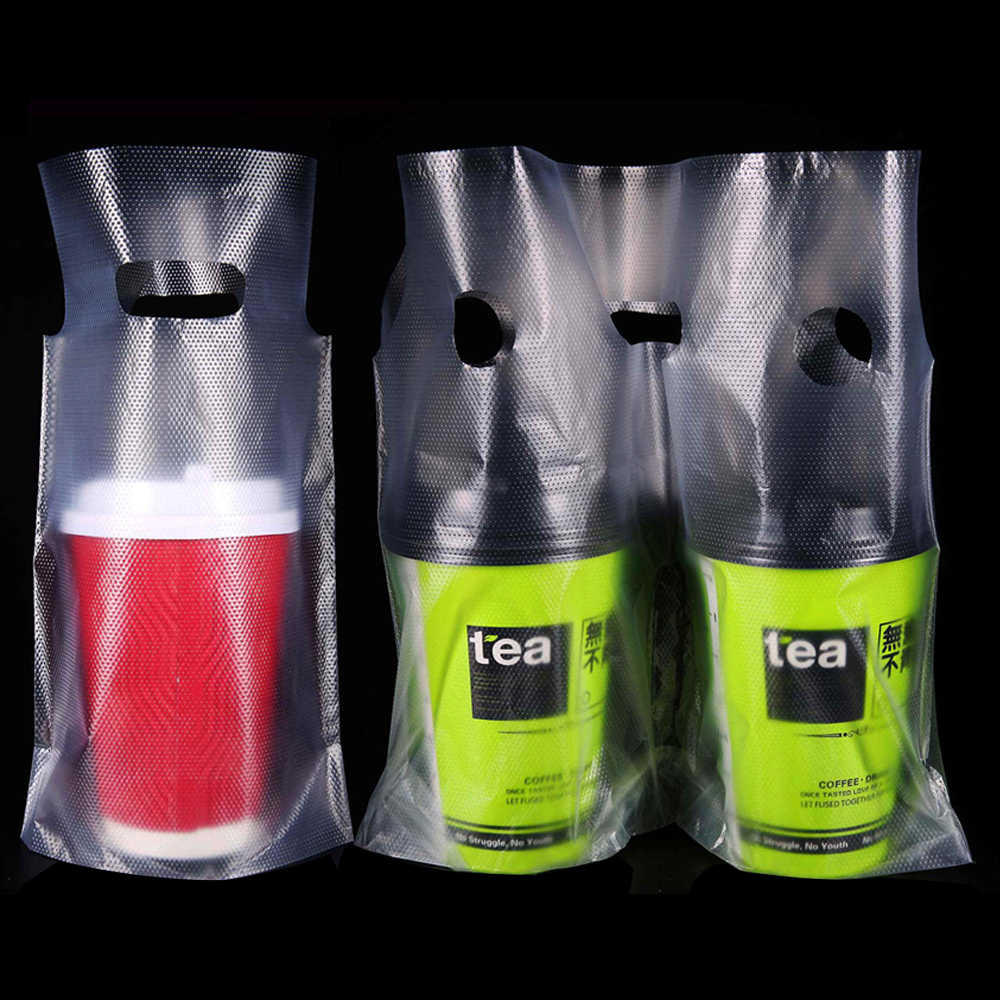 100Pcs/Lot Beverage Packaging Bag Clear Plastic Carrier Bag Pack Pouches with Two Type of Style for One Cup / Two Cups Bags