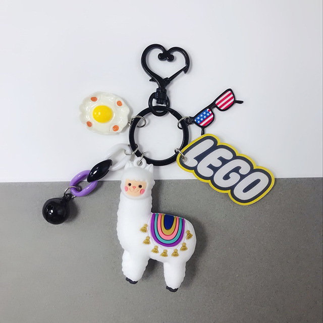 2019 New Fashion three dimensional Key Chain epoxy cute Alpaca creative doll cartoon small sheep bag pendant jewelry small Gift in Key Chains from Jewelry Accessories