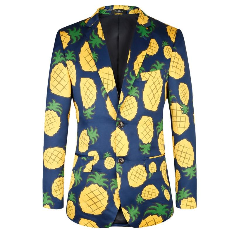 c58dd242662ea2 Esclusivo TOTURN abiti da uomo giacca sportiva di stampa di alta qualità per  il tempo libero degli uomini di modo giacche fiore ananas modello di  giacche Da ...