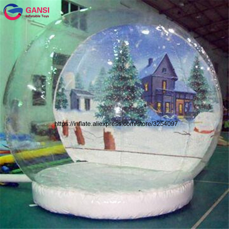 Wholesale 3m diameter 0.5mH step inflatable christmas snow globe decoration clear inflatable snow ball for festival advertising