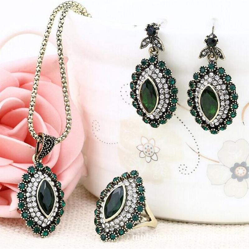 DreamBell Noble Retro Fashion Jewelry Set Women Luxurious Alloy Rhinestone Three-piece Of Necklace Earring Ring