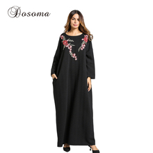 Для женщин макси платье утолщение трикотажные хлопковые зимние Абаи Вышивка халат джилбаба мусульманин свободные Стиль Ближний Восток Мусульманская одежда
