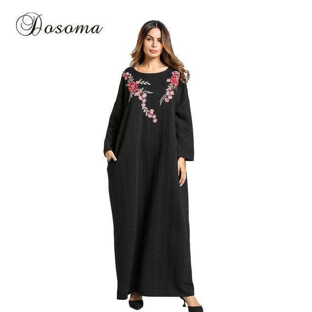 40f76a8301 Women s Maxi Dress Thickening Knitted Cotton Winter Abaya Embroidery Robe Jilbab  Muslim Loose Style Middle East Islamic Clothing