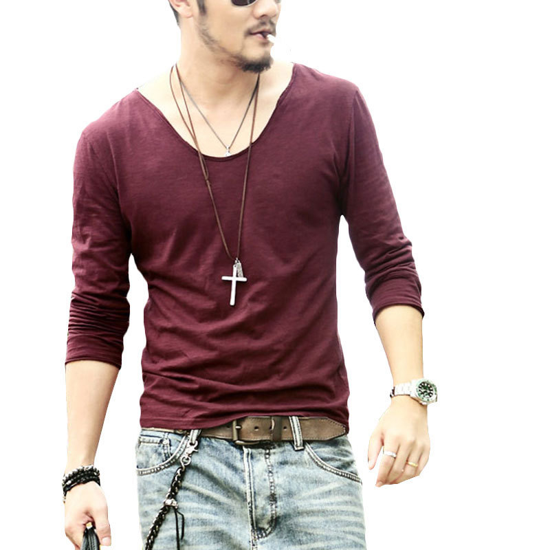 Plus Size Deep V Neck T Shirt Men Long Sleeve T Shirts Fitness New Brand  Outdoor Solid Undershirt 2015 Free Shipping  XS09 987286e88