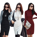 New Korean Women Dress Turtle Neck Long Sleeve Split Design Slim OL Lady Bodycon Knit Dress
