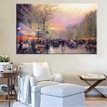 Bustling Street Landscape Thomas Kinkade Streetscape Painting Reproduction Beautiful Wall Art Home Decor Canvas Prints Unframed