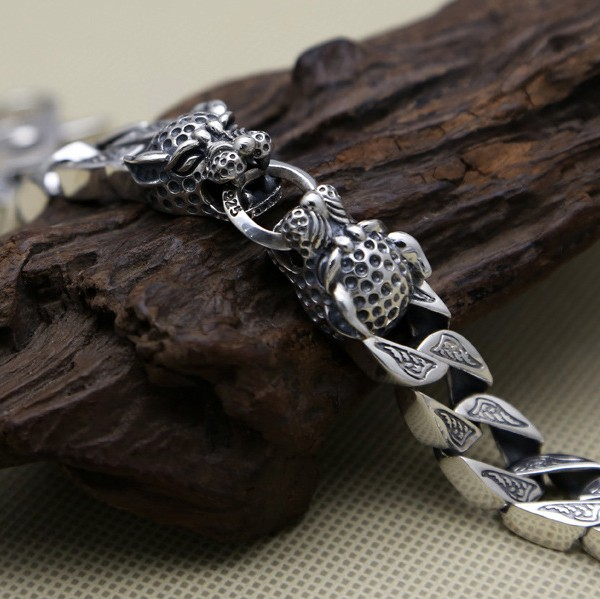 100-S925-solid-pure-silver-jewelry-double-leopard-head-thick-chain-men-s-vintage-Thai-silver (2)