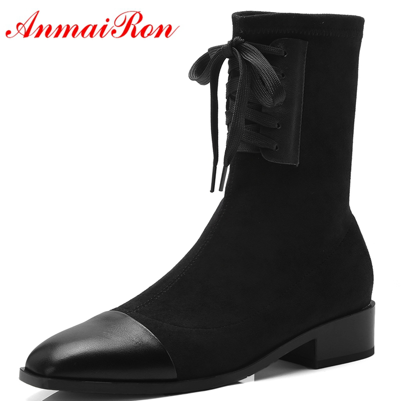 AnmaiRon 2018 Fashion  Basic  Square Toe  Winter Shoes Women  Genuine Leather  Mid-Calf  Woman Shoes Size 34-40 LY200AnmaiRon 2018 Fashion  Basic  Square Toe  Winter Shoes Women  Genuine Leather  Mid-Calf  Woman Shoes Size 34-40 LY200