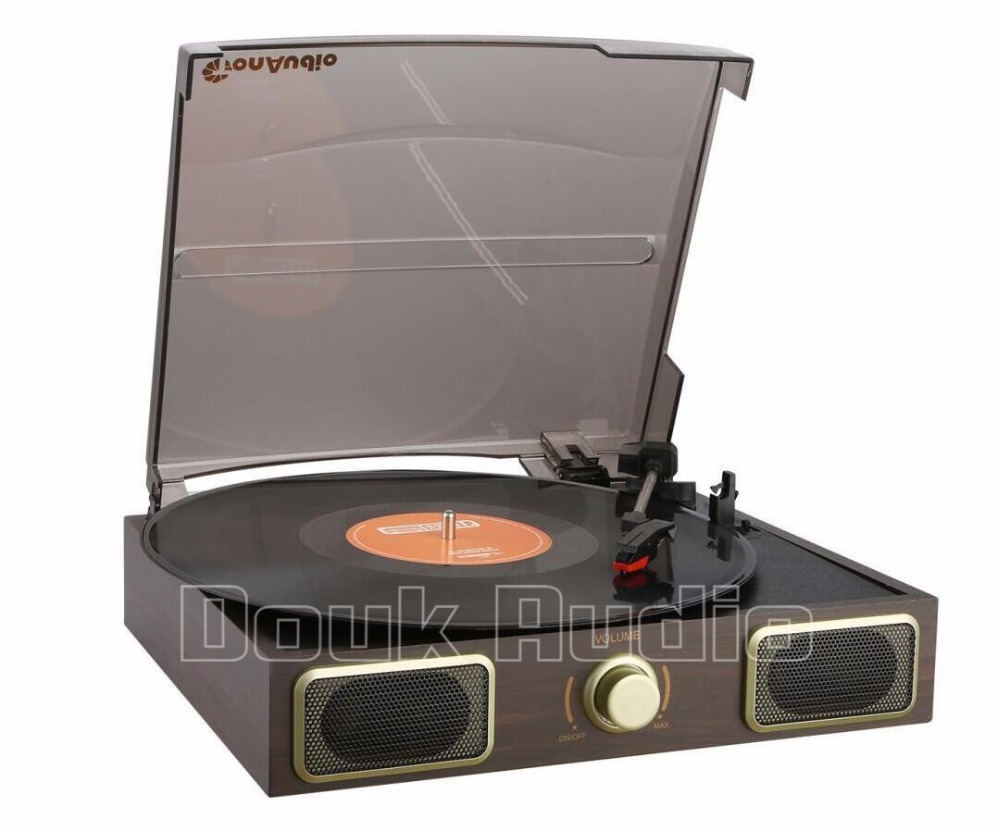 ФОТО 2017 New Music Hall Stereo Turntable LP Vinyl Record Player Phono AUX Built-in Speakers 220V