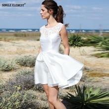 SINGLE ELEMENT White Prom Dreses Sexy Backless Mini Dress 2019