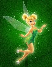 8x8FT 녹색 패턴 비행 Miss Tinkerbell 요정 소녀 어린이 맞춤 사진 스튜디오 배경 배경 인쇄 비닐 10x10