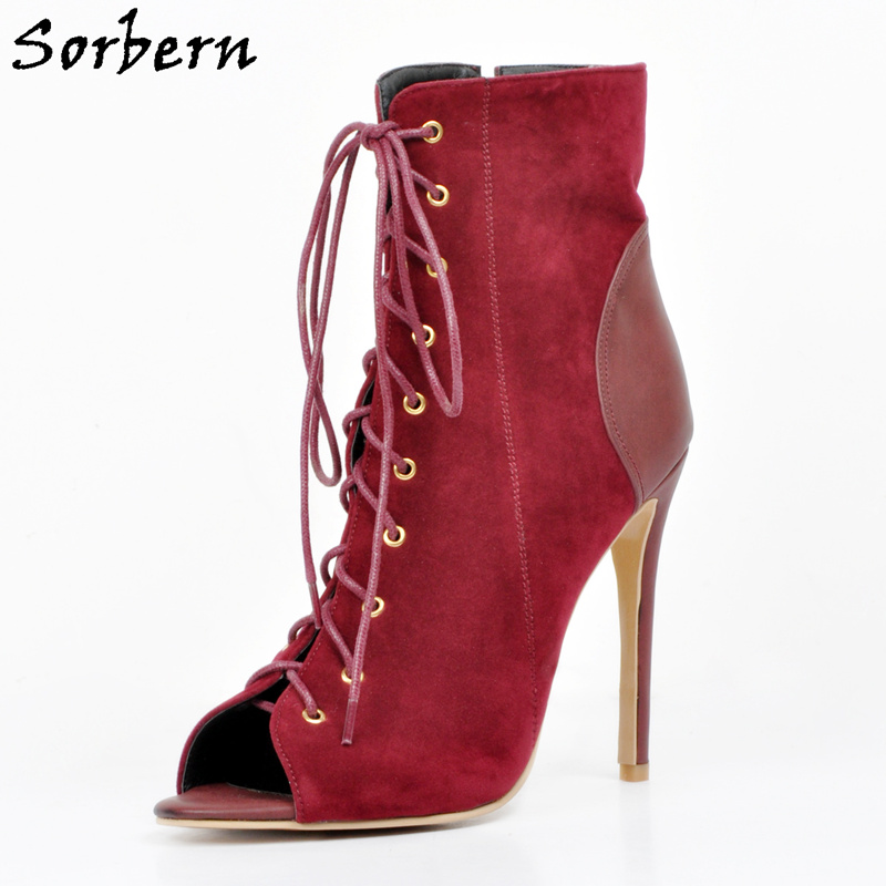 Sorbern Rust Red WomenS Ankle Boots For Women Shoes Peep Toe Designer Shoes Women Luxury 2018 New Arrival 34-48