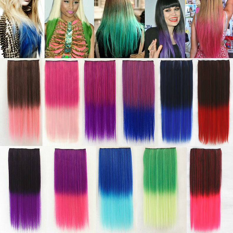 9 Different Colors 60cm Long Straight Ombre Style Dip Dye Festival