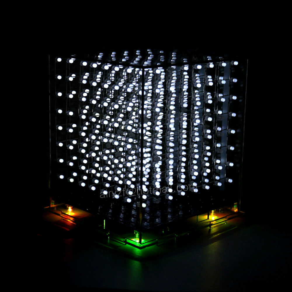 white 3D 8S 8x8x8 mini led electronic light cubeeds diy kit for Christmas Gift