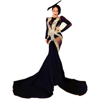 Women Sexy Perspective Shining Rhinestone Jumpsuit Costume Nightclub Singer Stage Outfits Crystal Bodysuit Large Wide Leg Pants