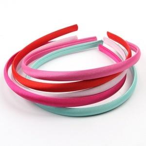 Image 5 - Mengna 60pc 20 cores 10mm meninas sólido cetim capa hairband crianças plain sólida meninas cetim headband diy