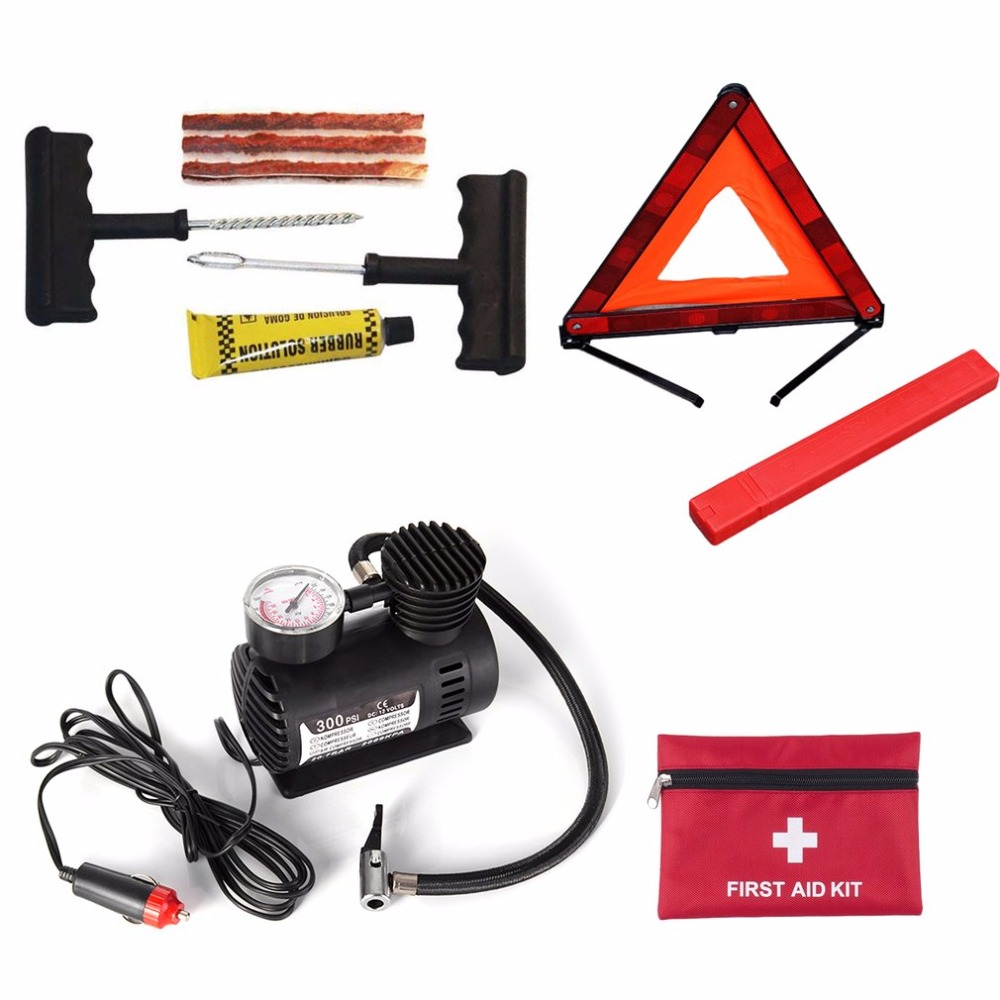 Portable Car Auto DC 12V Electric Air Compressor/Tire Inflator 300PSI Automo+ Car Triangle Emergency Warning Sign +First-aid Kit 300psi 12v mini air compressor auto car electric tire air inflator pump csl2018