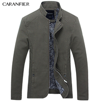 CARANFIER Men Jacket Coat For Spring Autumn Wear Turn Down Collar High Quality Cotton Thin Slim